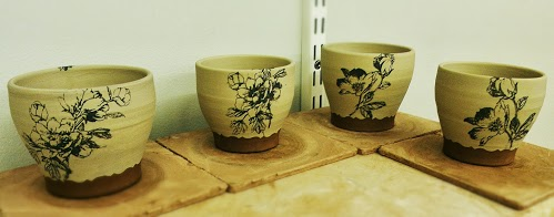 Screen printed cups - leather hard
